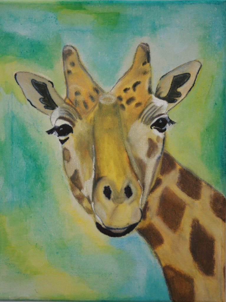 Giraffe mixed media auf leinwand 40x24cm