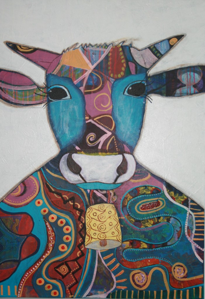 Happy Muh Acryl auf Leinwand 70x50cm