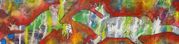 Salamander mixed media auf Leinwand 50x20cm
