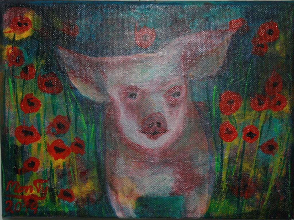 Schweinchen mixed media auf Leinwand 24x18 cm