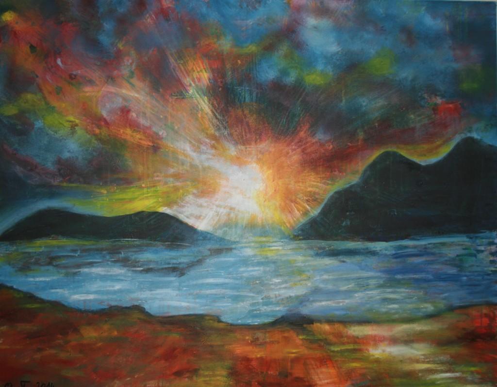 Sonnenaufgang Acryl auf Leinwand 100x80cm
