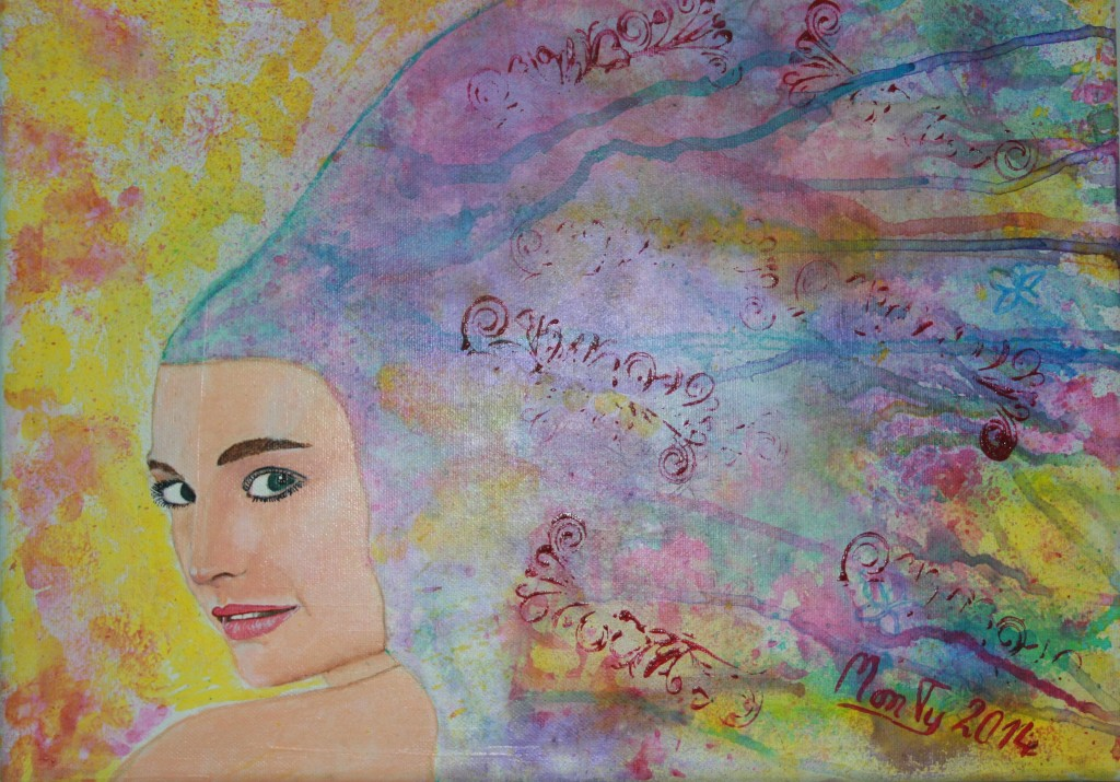 colorwoman mixed media auf leinwand 40x30cm
